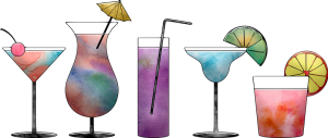 Cocktails, Aquarelle, Coloré, Peinture